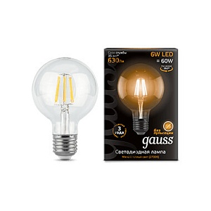 Лампа Gauss LED Filament G95 E27 6W 630lm 2700K 1/20