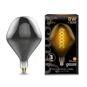 Лампа Gauss Led Vintage Filament Flexible SD160 8W E27 160*270mm Gray 2400K 1/6